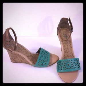Loft Aqua green wedge heels